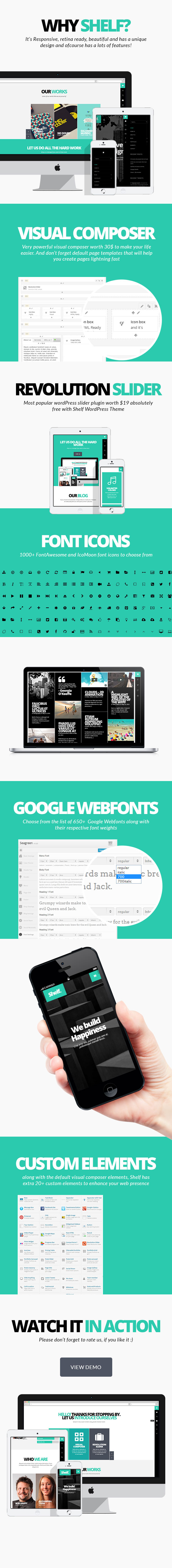 Shelf WordPress theme features